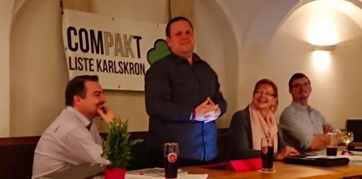 Bei der Nominierungsversammlung der Compakt - Liste Karlskron (CLK) für die Kommunalwahl 2020 (von links): 2. Vorstand Michael Steinhauser, Bürgermeisterkandidat Gerhard Hagl, 1. Vorstand Christine Froschmeir und SChriftführer Franz Froschmeir